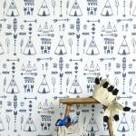 Hibou Home_Teepees wallpaper_Indigo & White_HH01001_a
