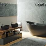 Экстраглубокая черная каменная ванна Viva Lusso PureScape 171 www.vivalusso.ru